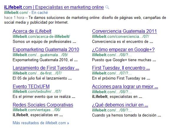 Nuevos sitelinks en los resultados de búsqueda de Google