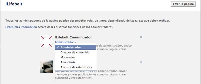 La nueva gestión de administradores en Fan Pages de Facebook