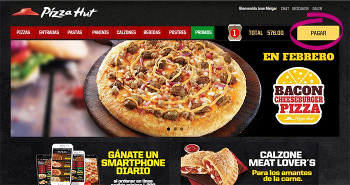 Pizza Hut Honduras comercio electrónico