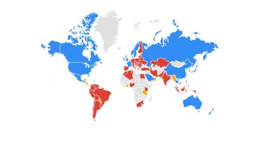 iPhone (azul) Samsung (rojo), Huawei (amarillo)
