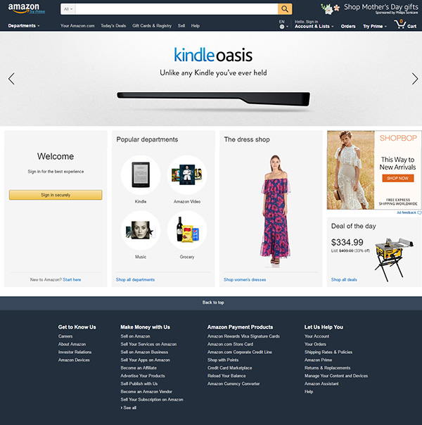 Diseño del sitio web de Amazon